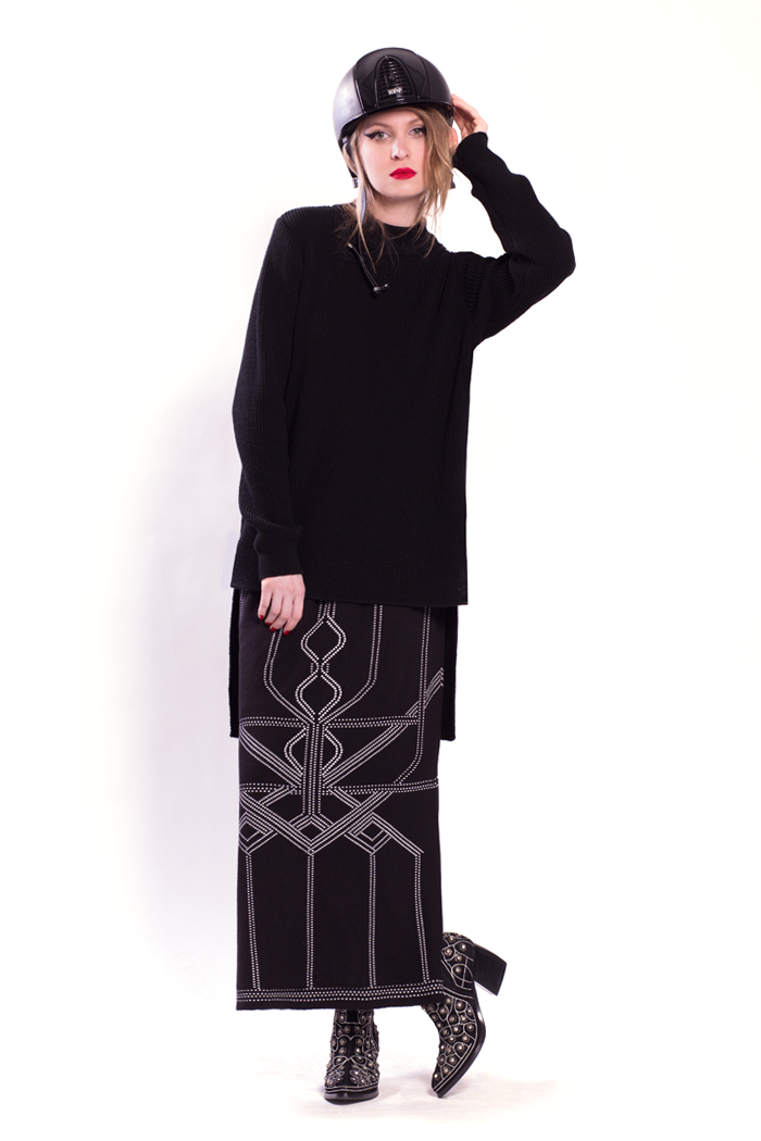 High-Low Rib Sweater and Graphic Jacquard Skirt with Side Slits