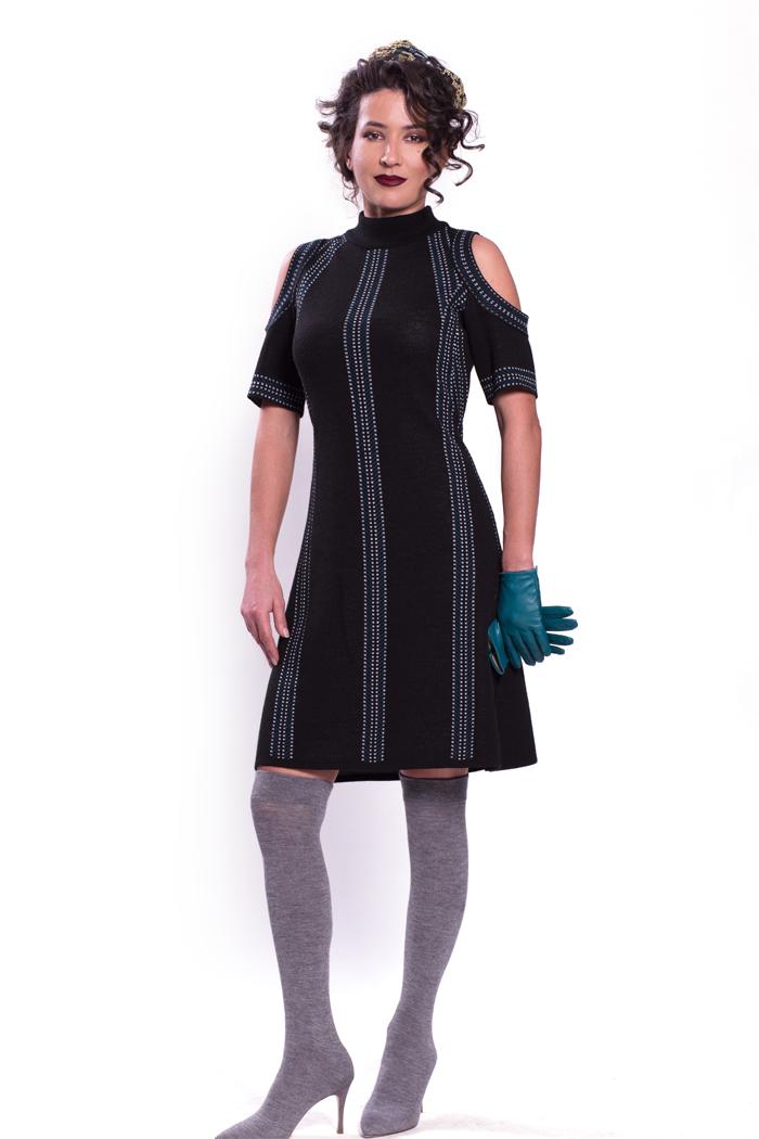Short Sleeve Cold Shoulder Graphic Jacquard Dress