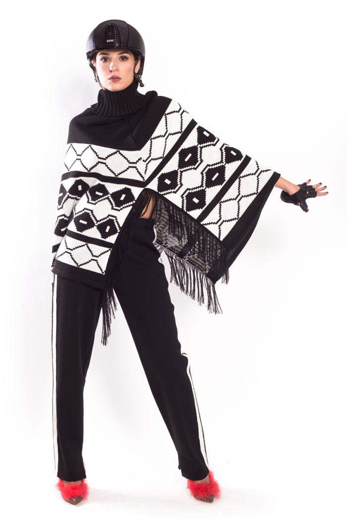 Graphic Jacquard Cowl Neck Fringe Poncho and Side Stripe Pants