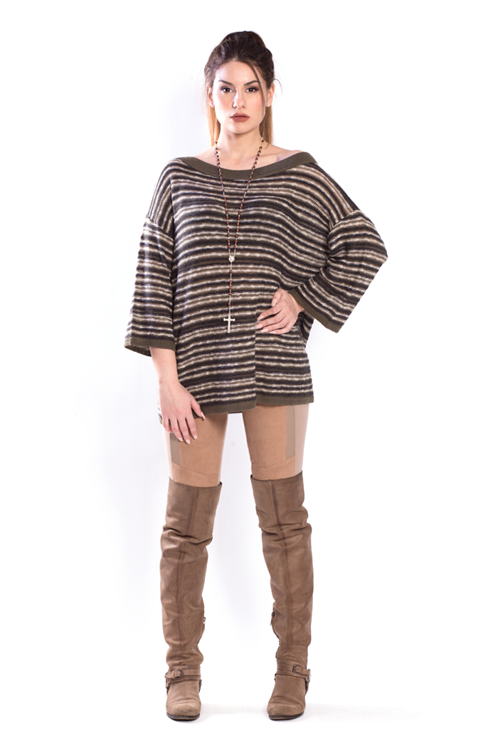 Multiyarn Stripes Oversized Sweater