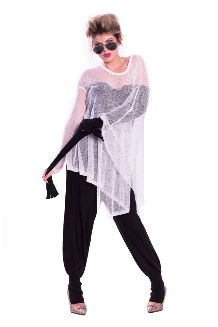 One Sleeve Mesh Poncho and Drawstring Waist Knitted Pants