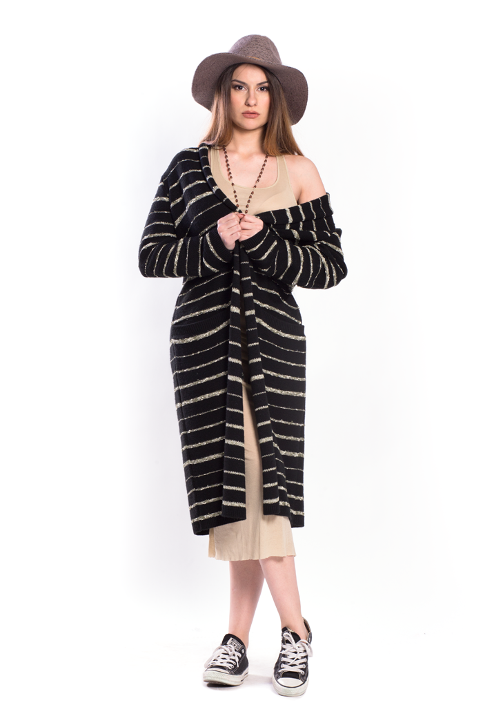 Boucle Stripe with Lurex Long Cardigan with Pockets
