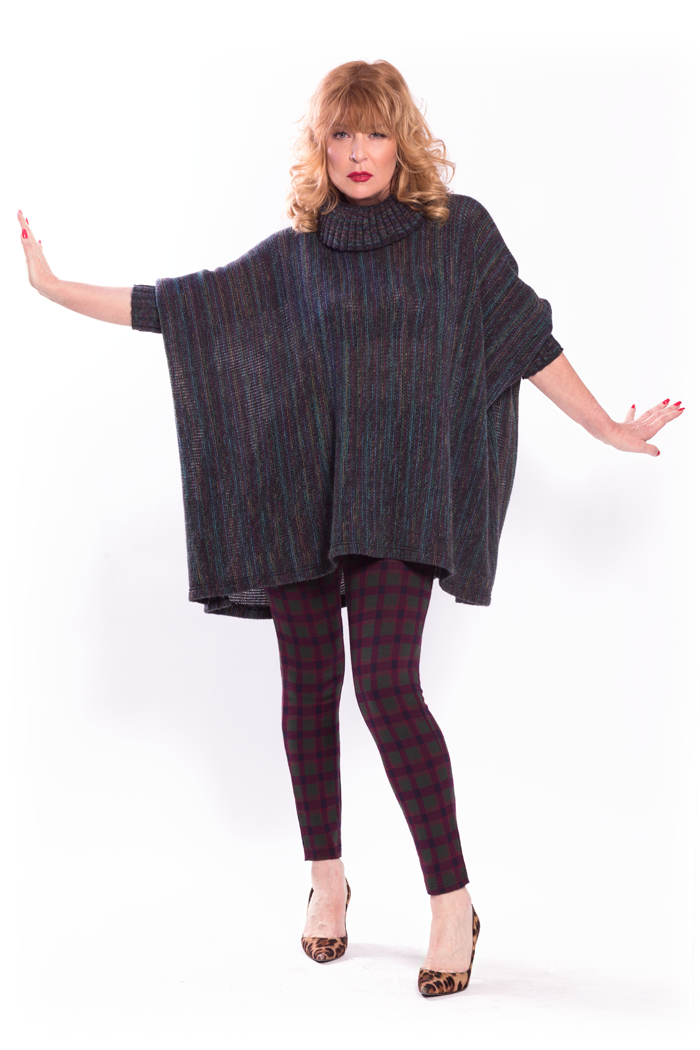 Cowl Neck Multicolor Poncho and Jacquard Leggings
