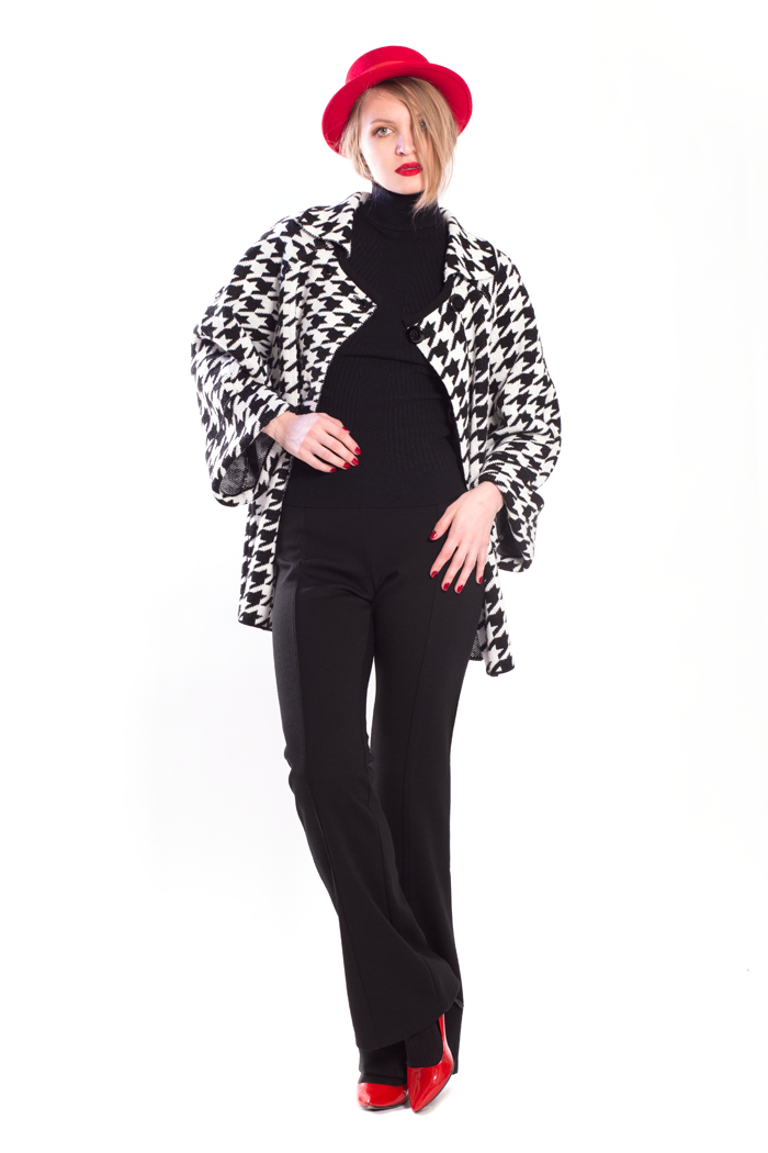 Cuffed Sleeve Houndstooth Knit Jacket and Flare Leg Ponte Pants