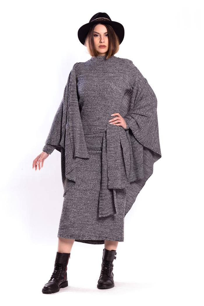Wide Melange Shawl with Pockets and Both Sides Wrap Melange Dress