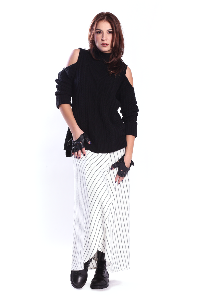 Cold Shoulder Full Front Cable Sweater and Pinstripe Wrap Skirt