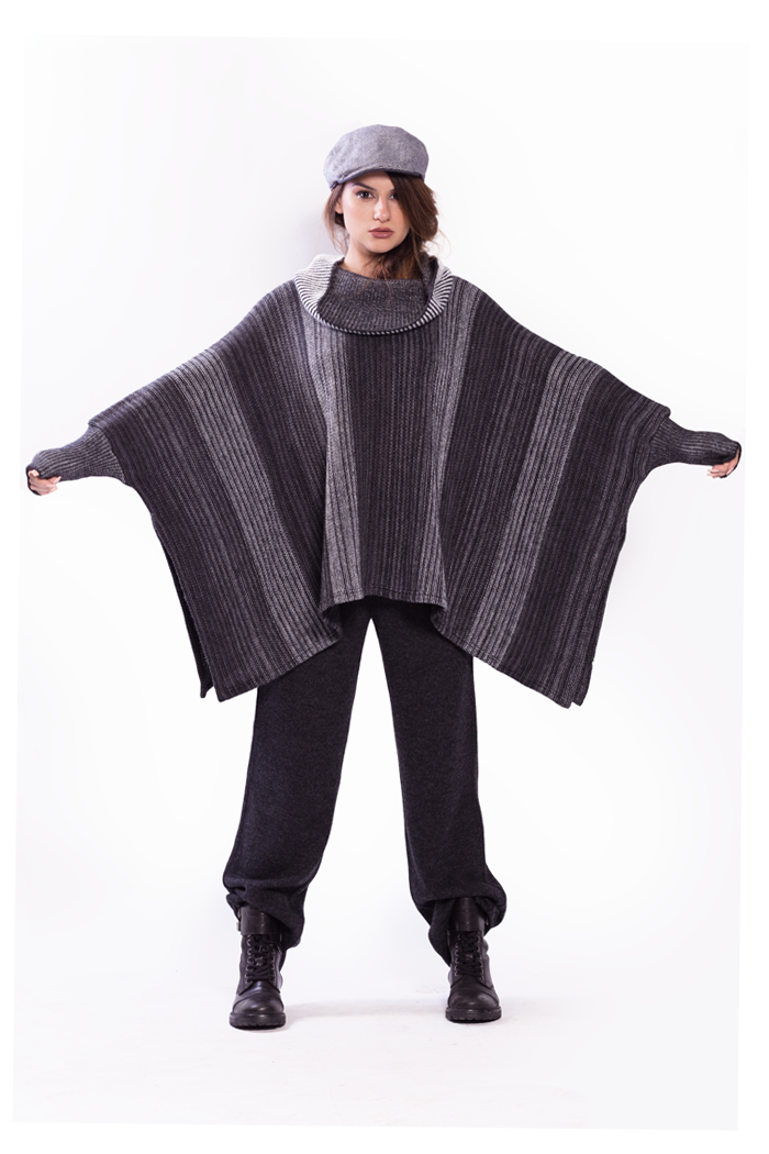Wide Cowl Ombre Poncho and Drawstring Waist Knitted Pants
