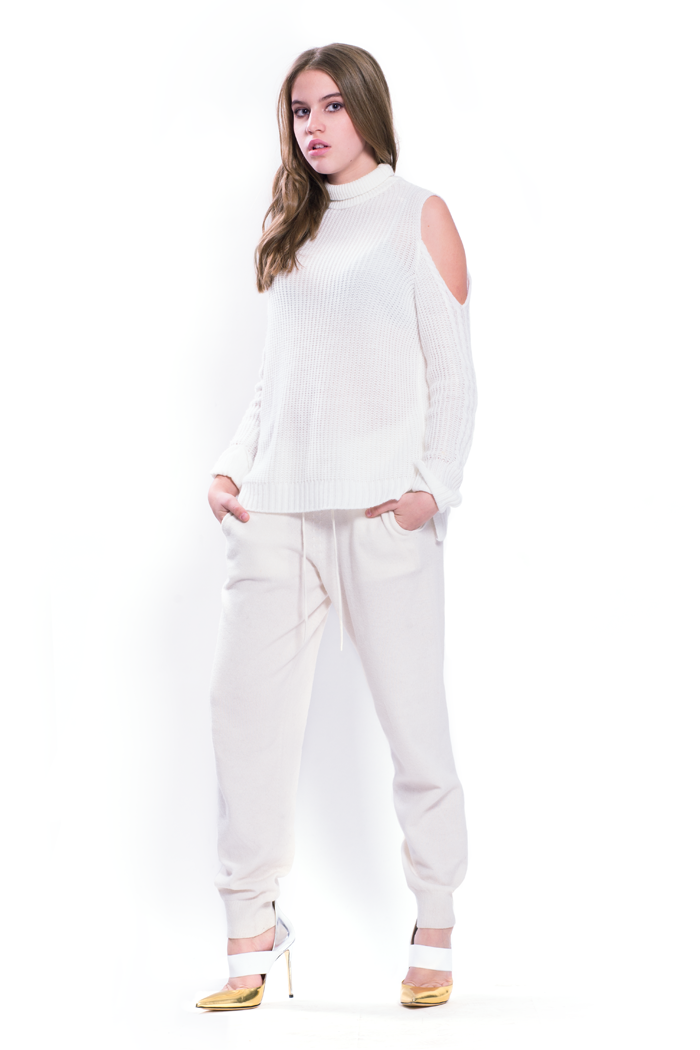 Pulbere rece Rib Rib și pantaloni tricotate tricotate