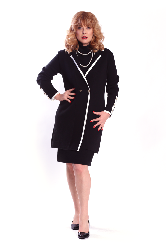 Contrast Trim Front Lapel Cardigan and Mock Neck Cap Sleeve Dress