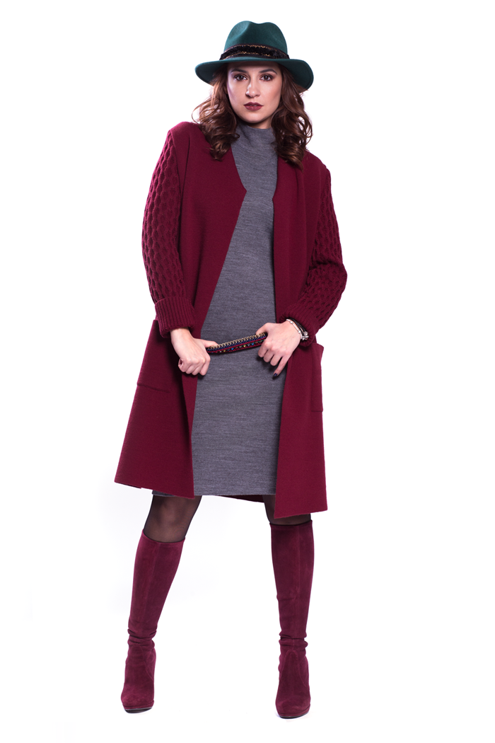 Cable Sleeves Cardigan with Knit Dress