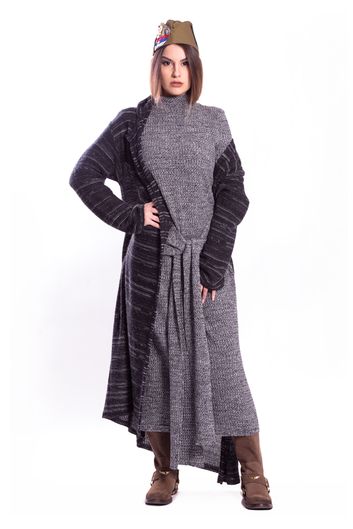 Ombre Long Cardigan and Both Sides Wrap Melange Dress