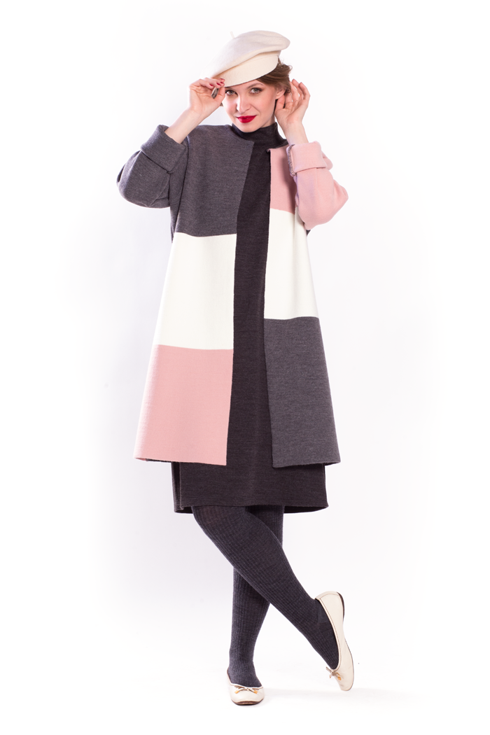 Pink Color Block Knit Cardigan and Mock Neck Cap Sleeve Dress