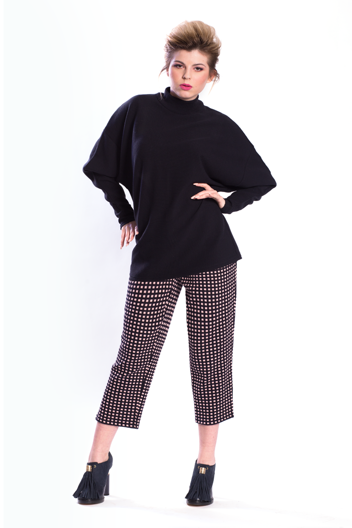 Dolman Sleeve Rib Top and Ankle Length Mini Boxes Jacquard Pants