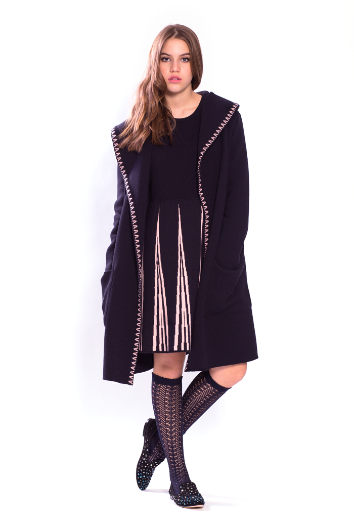 Wide Collar Cardigan and Knitted  Dress with Contrast Pleats