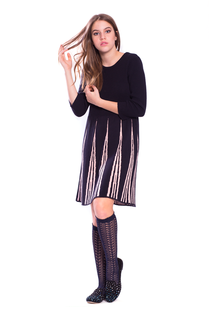 Knit Dress with Inserted Contrast Pleats