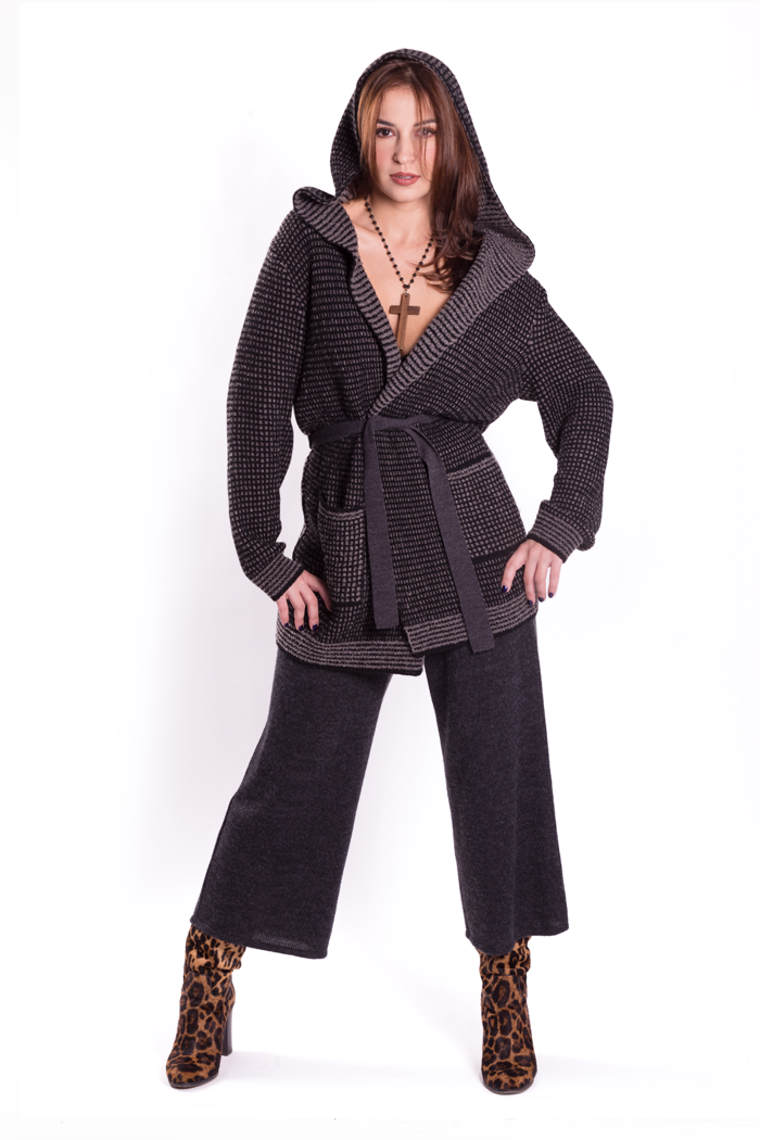 Hooded Two Tones Jacket with Belt and Pockets over Gaucho Pants