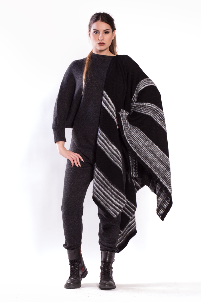 Wide Shawl with Asymmetric Top and Drawstring Waist Knit Pants