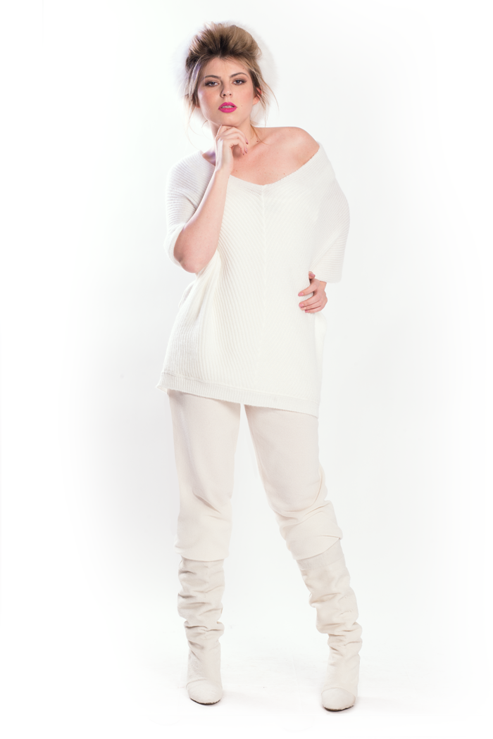 Deep V Neck Sweater and Drawstring Waist Knit Pants
