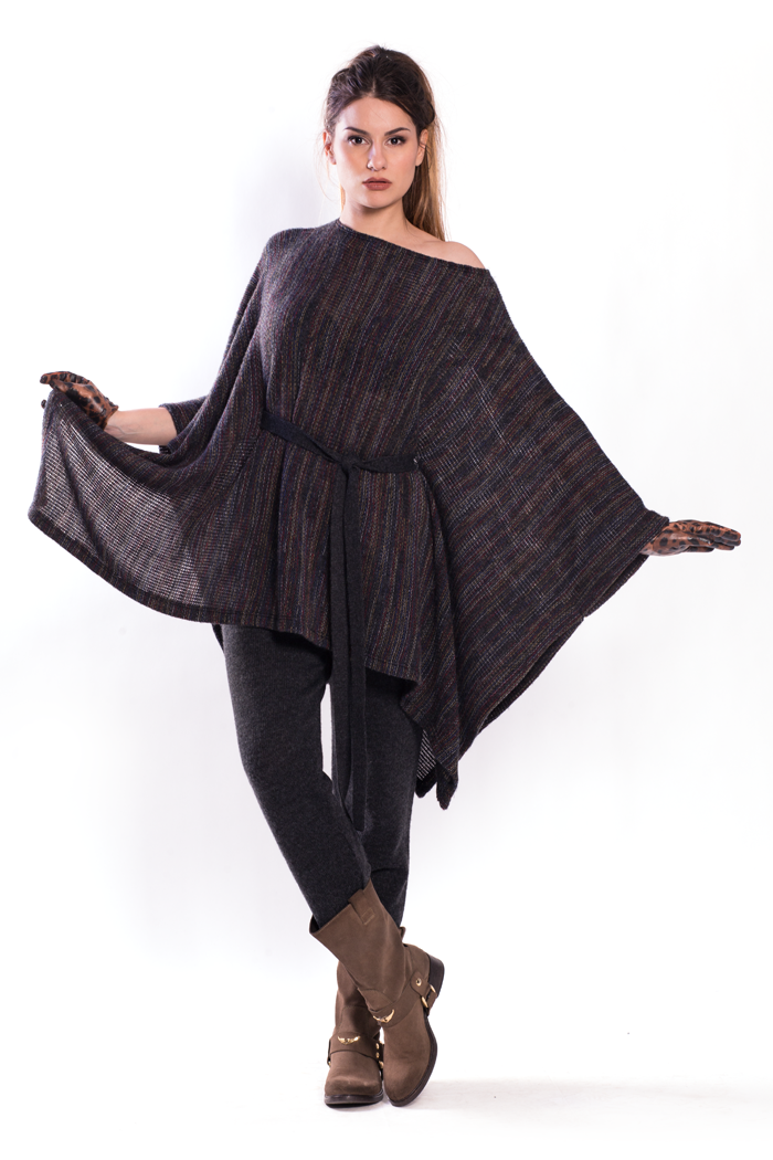 Belted Multicolor Poncho and Drawstring Waist Knitted Pants