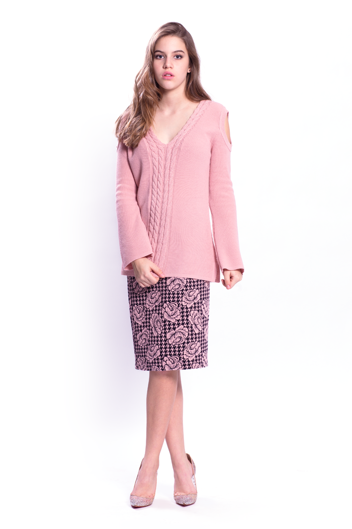 Cold Shoulder Cable Sweater and Floral Knit Skirt