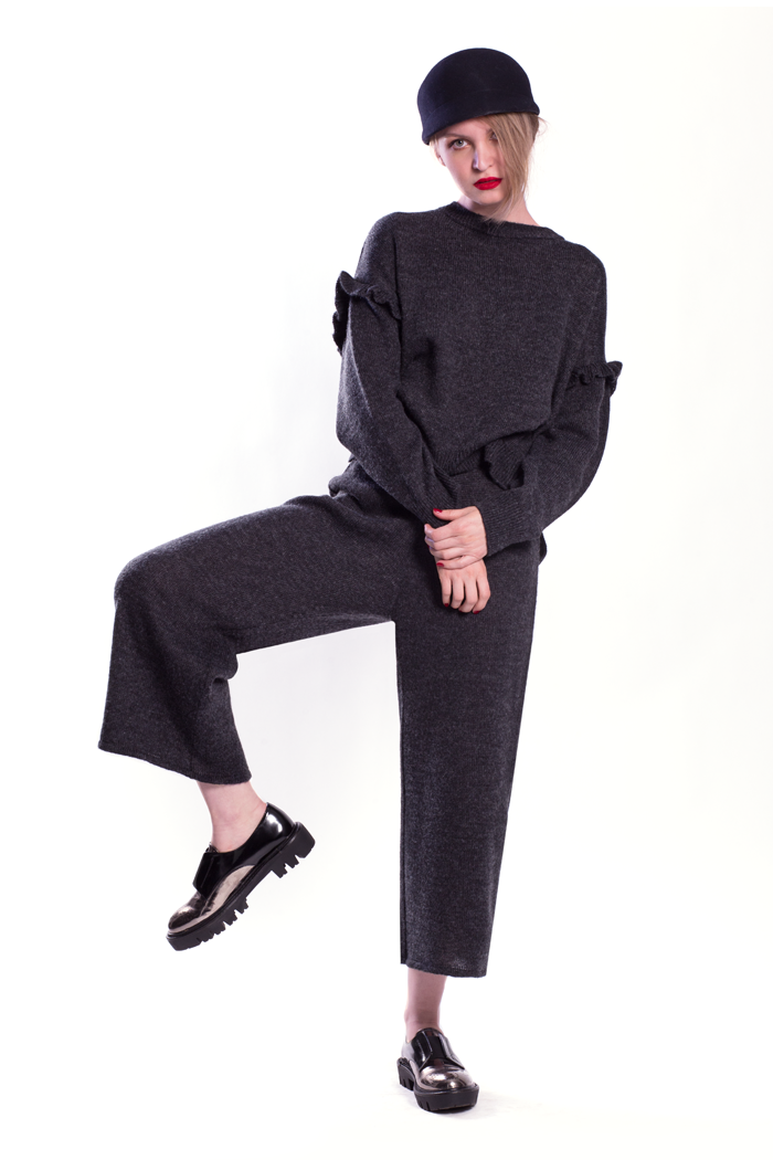 Ruffle Drop Sleeve Knitted Top and Gaucho Pants
