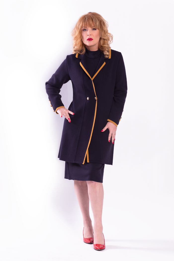 Contrast Lapel Cardigan with Gold Buttons and Cap Sleeve Dress