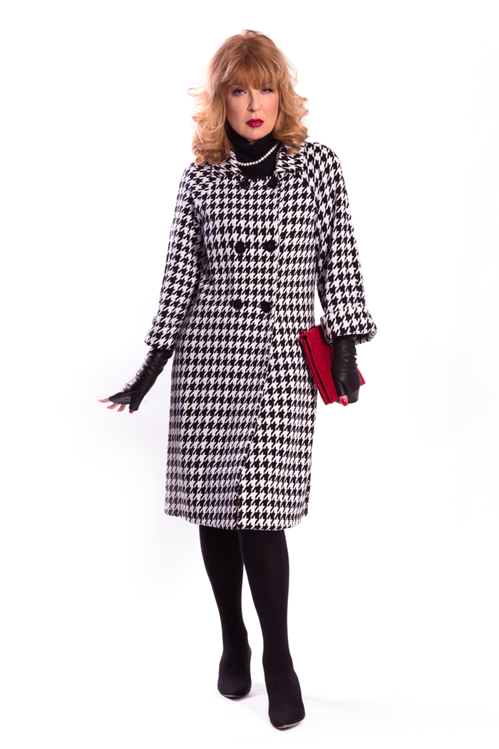 Houndstooth Double Breasted Cardigan and Mock Neck Sleeve Dress