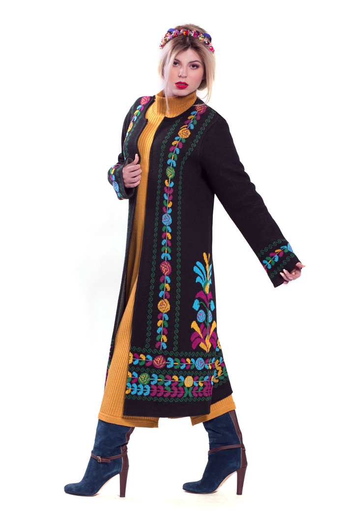 Ethnic Jacquard Cardigan and Long Sleeve Rib Dress