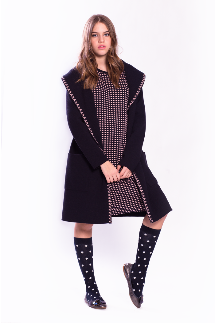 Wide Collar Cardigan and Mini Boxes Jacquard Dress