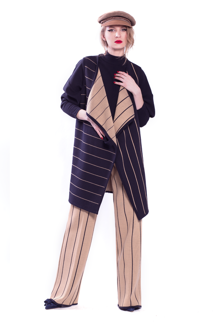 Double Face Stripe Vest with Rib Top and Stripe Flare Long Pants