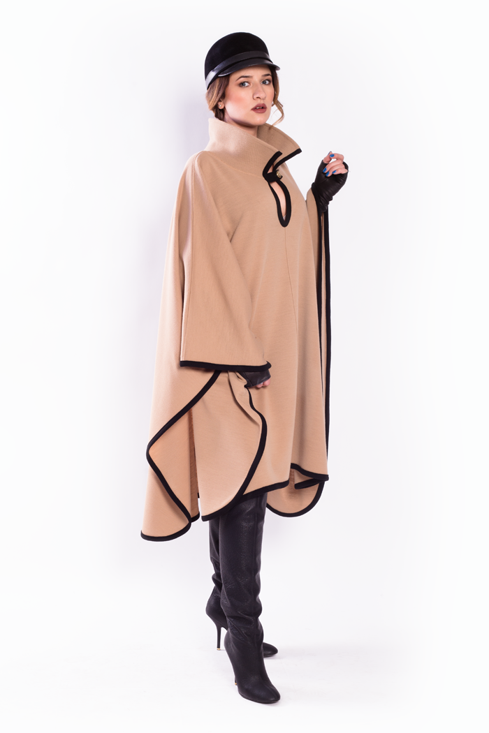 Contrast Trim High Neck Long Poncho