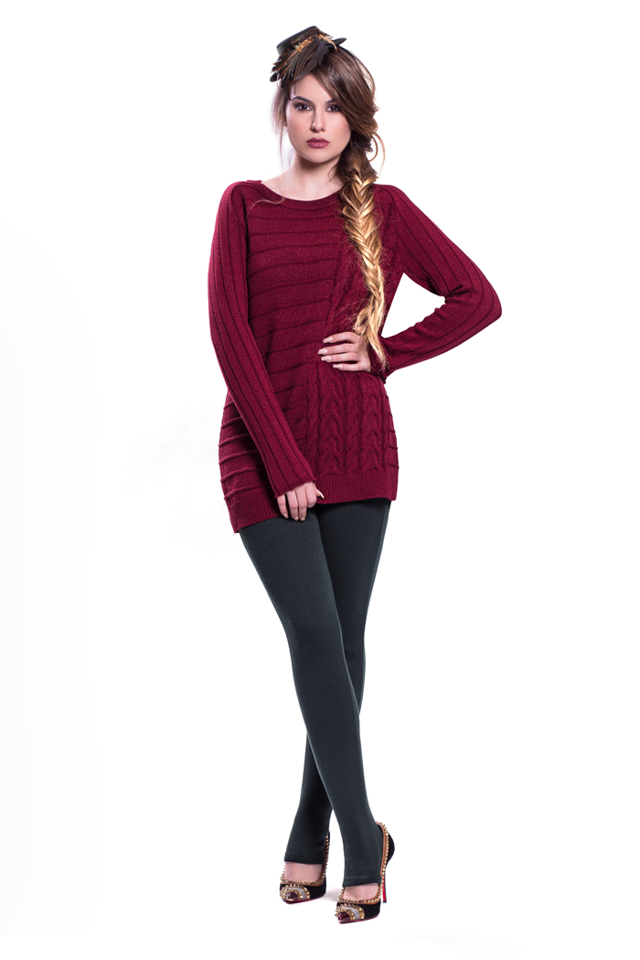 Jewel Neck Side Cabled Detailed Sweater and Ponte Leggings