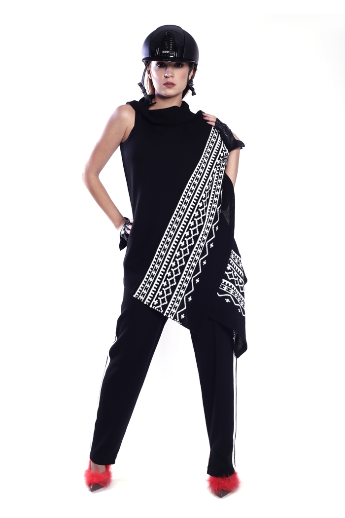 raphic Asymmetric Knitted Vest and Side Stripe Ponte Pants