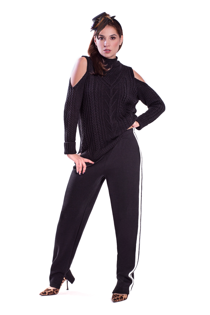 Cold Shoulder Cable Sweater and Side Stripe Ponte Pants