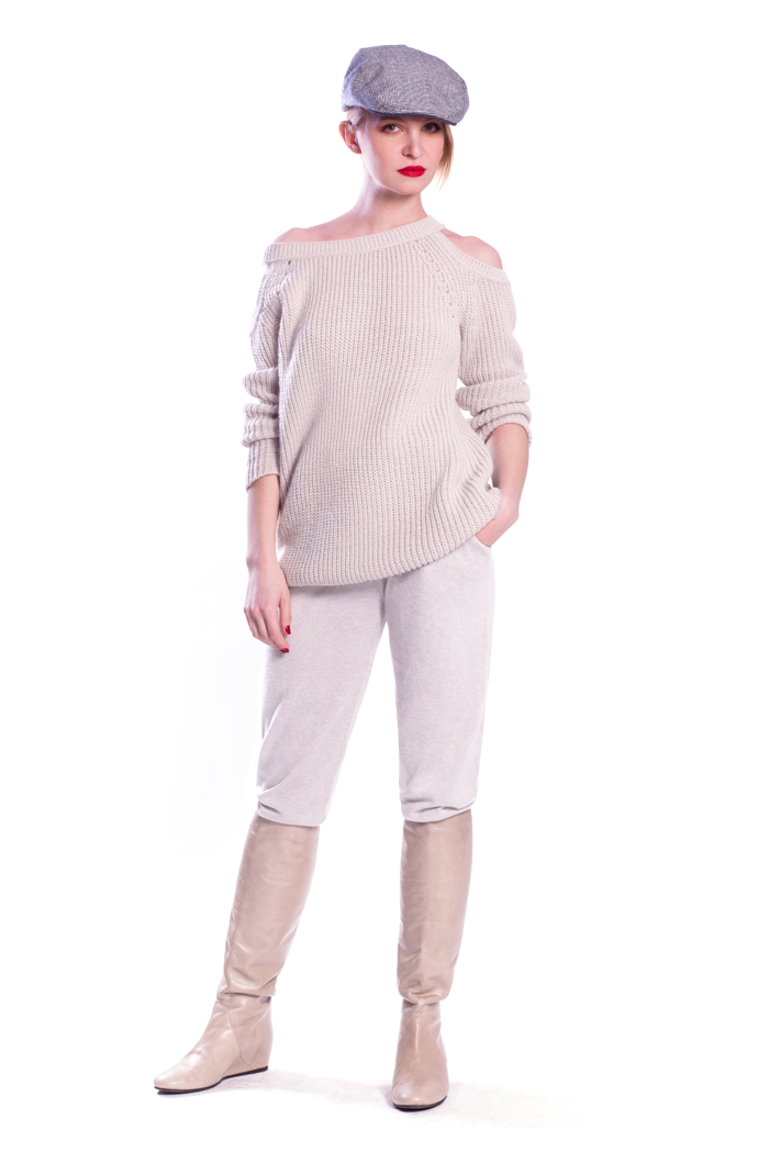 Ballet Neck Cold Shoulder Sweater and Drawstring Waist Knit Pants