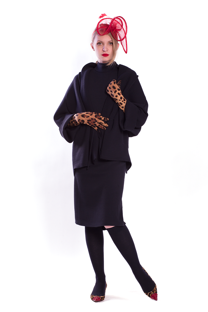 Cocoon Knit Jacket and Mock Neck Cup Sleeve Dress