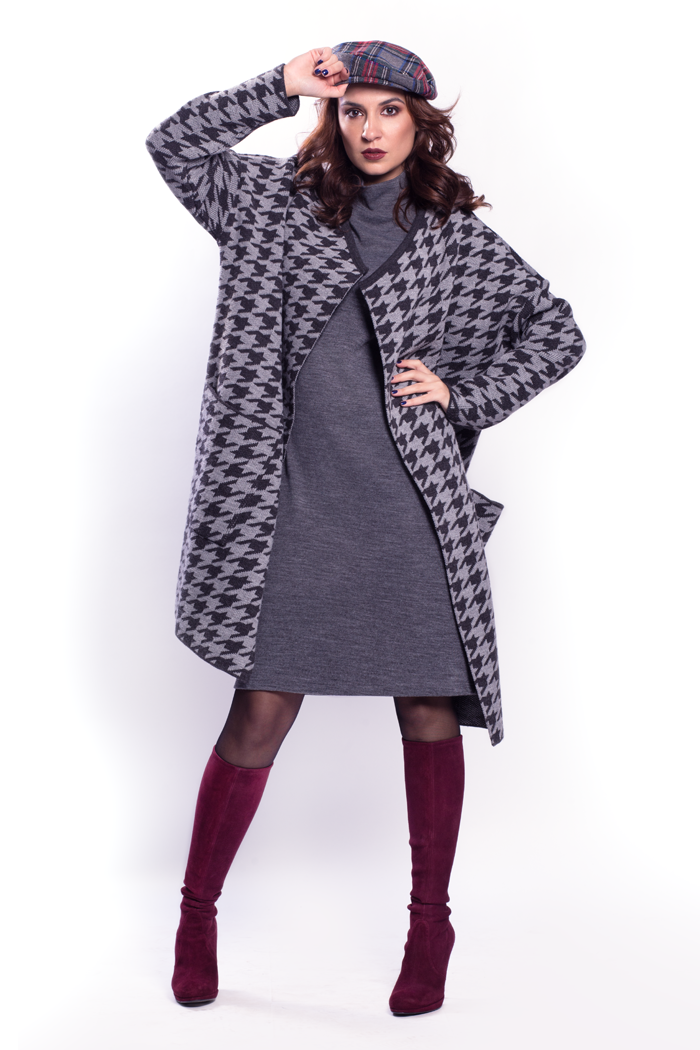 Houndstooth Cardigan with Pockets and Mock Neck Cap Sleeve Dress