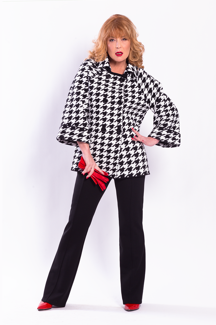 Double Breasted Houndstooth Jacket and Flare Leg Ponte Pants