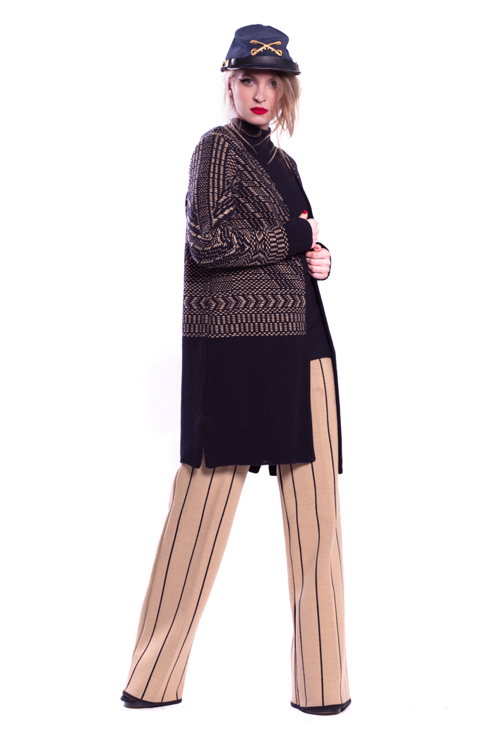 Tapestry Knit Cardigan with Rib Top and Stripe Flare Pants