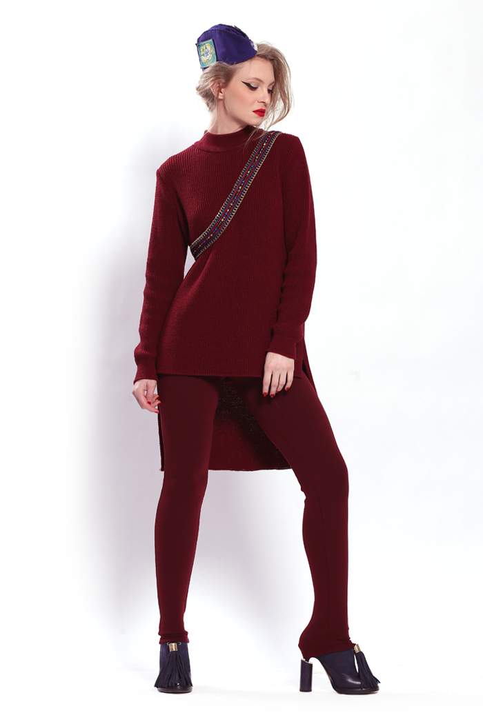 High Low Ribbed Sweater and Back Zipper Ponte Leggings