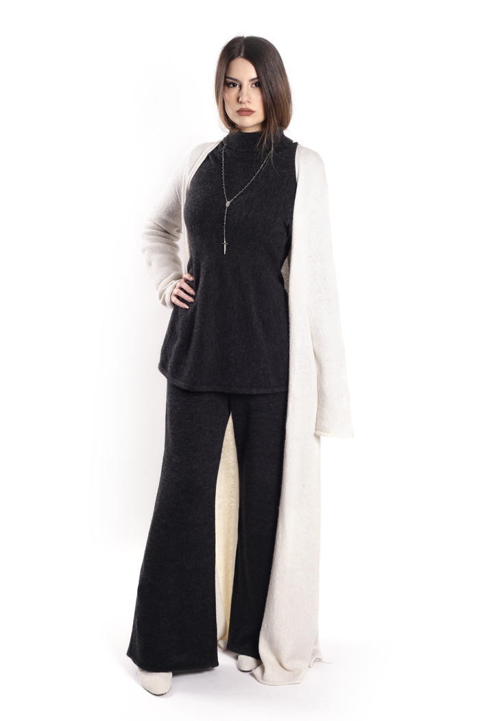 Elongated Cardigan with Flare Bottom Top and Palazzo Knit Pants