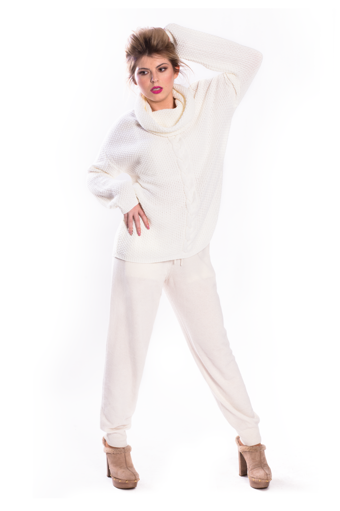 Cowl Neck Cable Front Sweater and Drawstring Waist Knit Pants