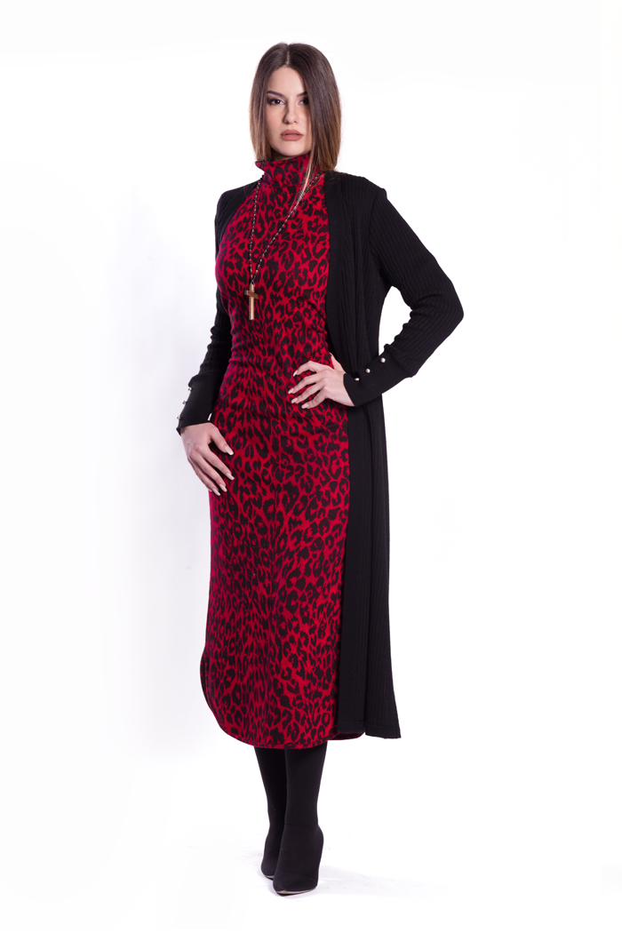 Long Ribbed Cardigan with Silver Buttons and Leopard Riding Dress
